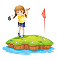 An island with a young girl playing golf vector