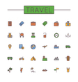 Colored travel line icons vector