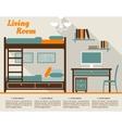 Living room flat interior design infographic vector