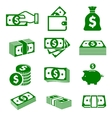 Green paper money and coins icons vector