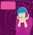 Girl music headphones cover vector