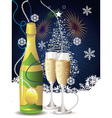Card with champagne vector