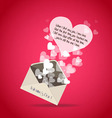 Valentine greeting letter hearts vector
