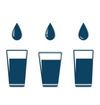 Icon with falling water drop and glass vector