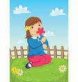 Girl smelling flower vector