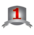 Number one label with silver ribbon vector