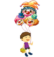 A boy carrying three clown balloons vector