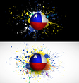 Chile flag with soccer ball dash on colorful vector
