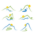 Set of mountainstrees and sun vector