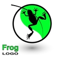 Round logo with a frog on a bright green leaf vector