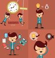 Set of businessman icons business cartoon vector