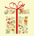 Autumnal gift with colorful leaves for seasonal de vector