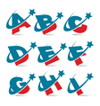 Swoosh patriotic alphabet set 1 vector