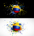 Colombia flag with soccer ball dash on colorful vector