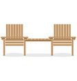 Wooden garden chairs with table vector