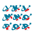 Swoosh patriotic alphabet set 2 vector