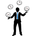 Busy business person juggles time clocks vector