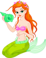 Beautiful mermaid with sea shell vector