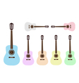 Beautiful colorful classical guitars vector
