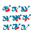 Swoosh patriotic alphabet set 3 vector