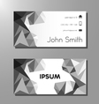 Business card template - black and white polygons vector