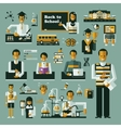 Education icons set of icons on a theme school vector