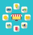 Flat icons of e-commerce shopping symbols vector
