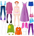 Paper doll with clothing vector