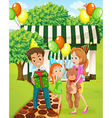 A happy family celebrating outside the house vector