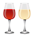 Glasses of red and white wine vector