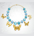Necklace of golden butterflies vector