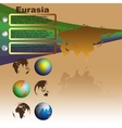 Eurasia map on brown background vector