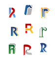 Set of alphabet symbols and elements of letter r vector