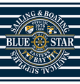 Blue star sailing and boating vector
