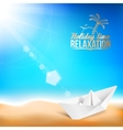 Beautiful background with a summer sea and ship vector