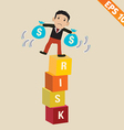 Cartoon businessman stand on risk block - - vector
