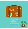 Luggage leather suitcase with travel sticker vector