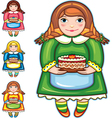 Girl pie birthday set vector