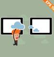 Cartoon business man carry cloud service - vector