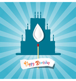 Blue birthday background with cake silhouette vector