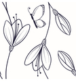 Abstract floral seamless pattern with butterfly vector