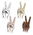 Victory fingers gesture set vector
