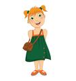 Cute girl in green dress vector
