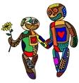 Two happy loving dolls vector