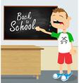 Crying boy in school vector