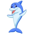 Cute dolphin cartoon waving vector