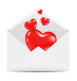 White envelope with red hearts vector