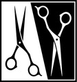 Set scissors black and white silhouette vector