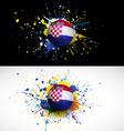 Croatia flag with soccer ball dash on colorful vector