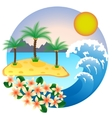 Two palm-tree on the tropical island vector
